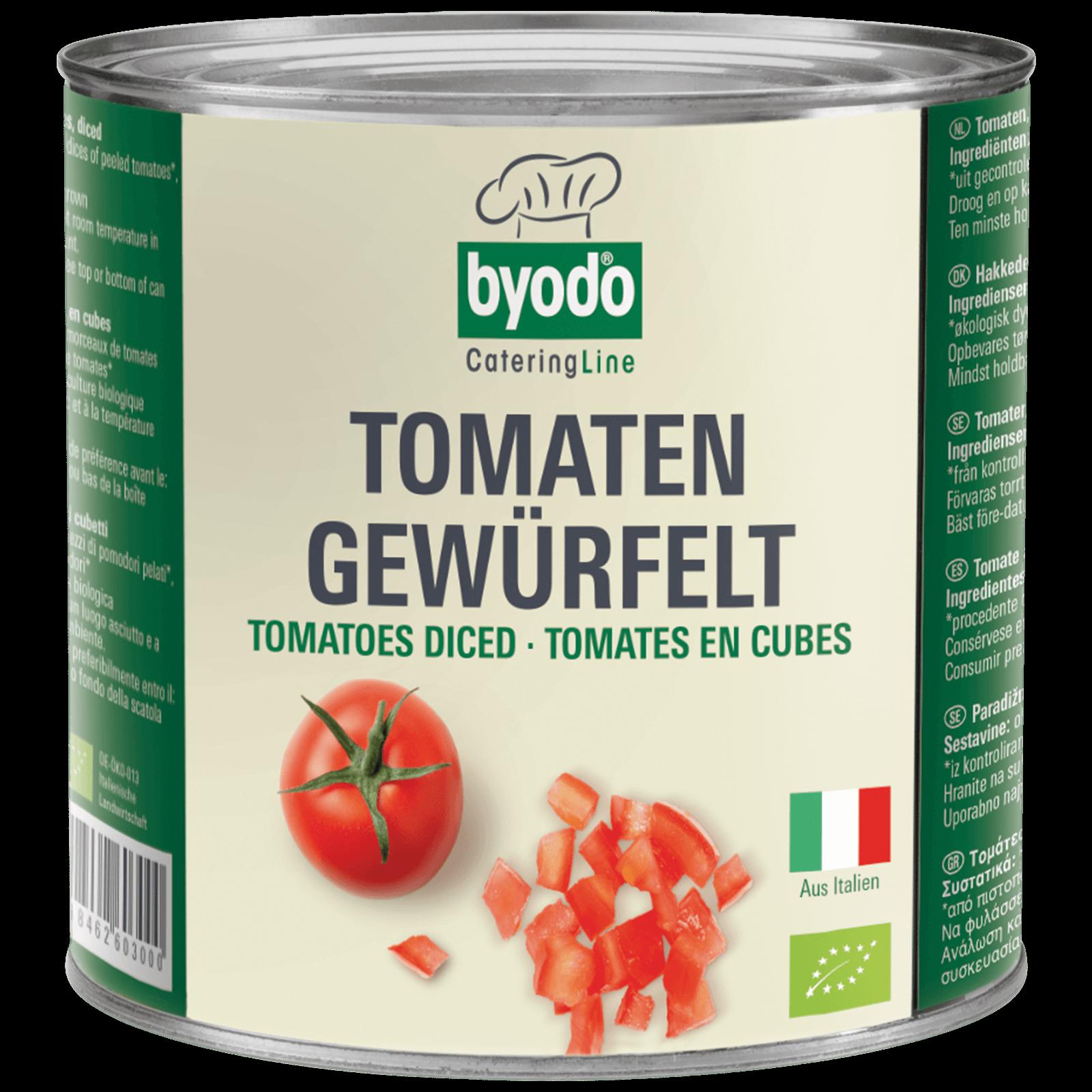 Bio-Tomaten gewuerfelt